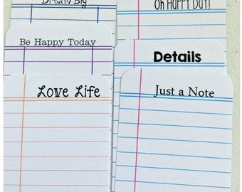 Happy Thoughts  Journaling Cards, Tags - Use in Travelers Notebook, Journal, or Planner - Ephemera, Notes, Ledger, Library Card, Die Cuts