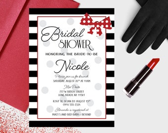 Bridal Shower Invitation - Vintage Minnie Mouse Inspired - DEPOSIT