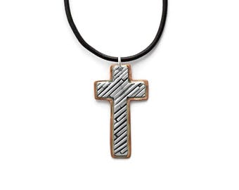 Mens Cross Necklace, Cross Pendant, Mixed Metal Cross Pendant, Religious Jewelry, Christian Jewelry, Modern Cross,Cross Jewelry,Gift for Him