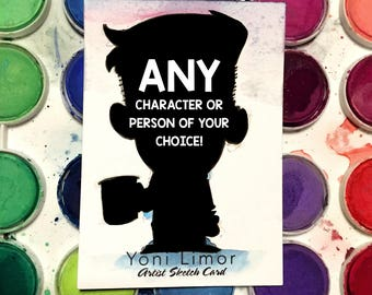 CUSTOM ACEO watercolor sketch card - ANY character of your choice!