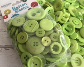 "Green Buttons, Packaged Round Button Assortment, 5 oz bag, ""Candy Apple"" #BCB101 Buttons Galore, Sewing, Crafting, Embellishments"