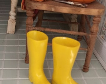 Miniature Yellow Boots, Mini Boots, Rain Boots, Galoshes, Dollhouse Miniature, 1:12 Scale, Dollhouse Accessory, Decor, Crafts