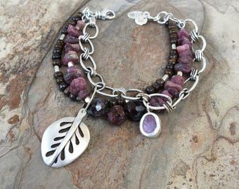 Sterling Silver and Raw Ruby Bracelet with Leaf Charm. Handmade Jewelry for Charity. BC17