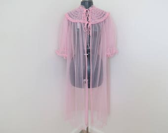 Vintage 1960s Pink Ruffle Peignoir Robe - Size 36