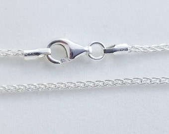 2 pcs, 20 Inches, 1.6mm 925 Sterling Silver Wheat Chain, Finished Chain - Made in Italy