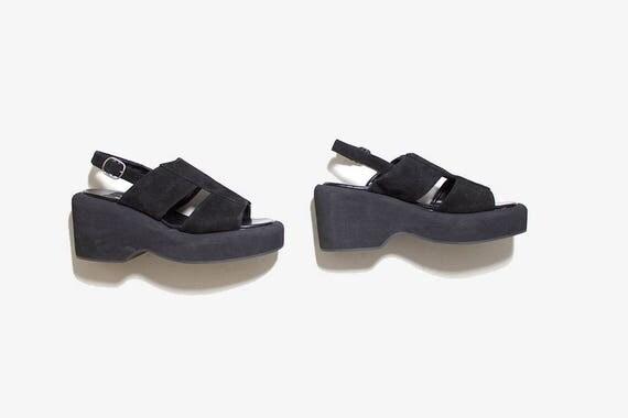 Vintage Leather Sandals 5 / Black Leather Sandals / Platform Sandals / Wedge Sandals / Chunky Sandals / Platform Wedges