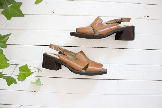 Vintage Leather Mules Size 7 / Brown Leather Sandals / Slingback Mules / Strappy Sandals / Slingback Sandals