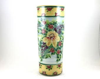 Handmade Tall Ceramic Flower Vase - Red and Yellow Floral Design - Blue Porcelain - One-of-a-kind