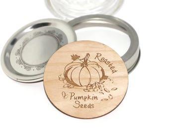Mason jar labels, Wood canning jar lids, Pumpkin seeds, canning labels, cooking labels, personalized jar labels, canning supplies, glass jar