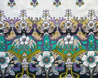 Vintage Navy Floral Border Print Fabric