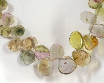 Watermelon Tourmaline Slices Multicolor Tourmaline Pink Green Pastels Bicolors Earth Mined - 4 or 8 Inch Strand - 5x3 to 10x7mm