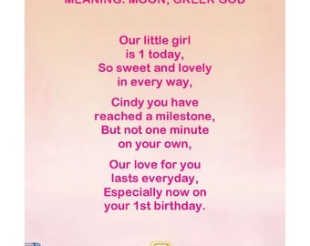 Baby Name Meaning and Personalized Poem Digital Room Poster.