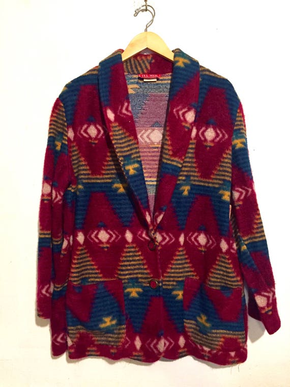 South Western Print Oversized Button Up Flannel Cardigan