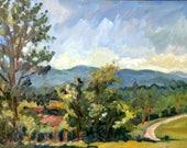Oil Painting Landscape, June Sky, Berkshires Road. 8x10 Original Plein Air Impressionist Oil on Panel, Signed Original Realist Fine Art