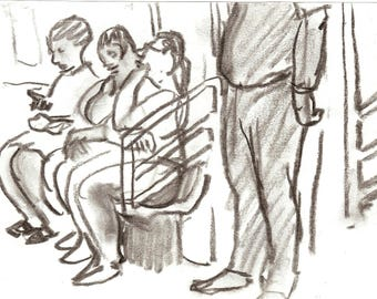 Take the C Train, NYC. Original Charcoal Drawing, 6x8 inch Sketch, New York City Subway Drawing, Signed Original Urban Fine Art