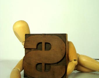 Dollar Sign Letterpress Wood Type 3 Inch Money Symbol Freestanding Vintage