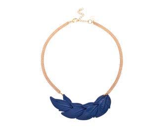 Blue statement Leaf Necklace, Retro Bib Necklace, Gift for her