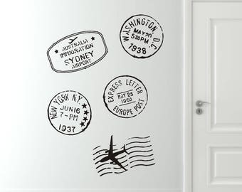 Travel Wall Decal, Travel Stamp Wall Decals, Travel Vinyl Wall Decals, Travel Decals, Stamp Decals
