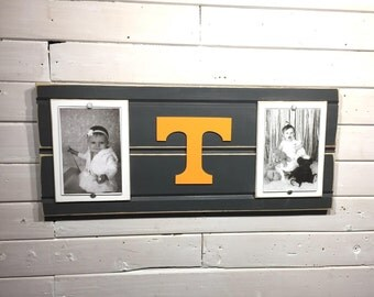 "University of Tennessee Volunteers picture frame holds 2 4""x6"" photo, decor"