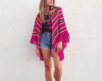 Vintage 70's Knit Poncho / Magenta Stripe Cape / Boho Hippie Festival