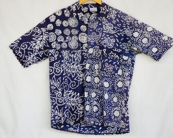 Vintage Men's Batik Print Button up shirt/Boho/Beach/Hippie