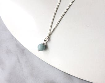 Turquoise necklace - tiny amazonite pendant with sterling silver chain - aqua bead - simple necklace - gemstone - choice of color