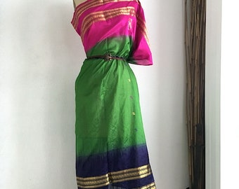 Sari Dress-Poncho-Skirt-in-One | Silk Dress | Poncho | Skirt | Green | Multi-style | OS | Size 0-8