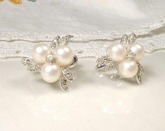 Vintage Designer Richelieu Ivory Pearl Rhinestone Bridal Earrings, Art Deco Silver Leaf Pave Crystal Pearl Earrings, 1960 Screw on back Clip