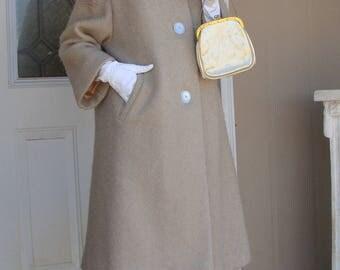 Mid Century Vintage 3/4 Sleeve Jacket Beige Persian Wool Brown Fur Collar Dress Coat M Lined
