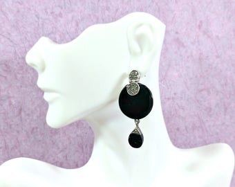 Vintage Black Onyx Sterling Silver Marcasites Drop Dangle Earrings Big Standout Quality Craftsmanship Big Round Post Style 1 7/8 Inch Long