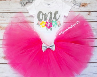 Silver and Fuschia Luau First Birthday Outfit Girl; Birthday Tutu Outfit; Gerber ® Onesies ® brand; Baby Girl Hawaiian Outfit; Flowers