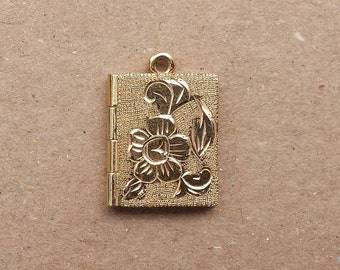 Gold Tone Square Two Sided Locket, Textured, Carved Flowers, 12 K.G.F. Pendant