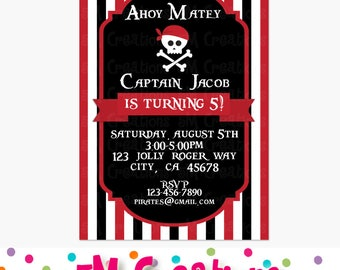 PIRATE Birthday Party Invitation - Pirate Party Invite - Pirate Printable Invitation - Digital Invitation - Red, Black, Skull