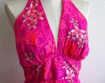 Vintage 60s Hawaiian Bright Pink Plumeria Flower Print Tiki Halter Top Plunge Summer Maxi Dress