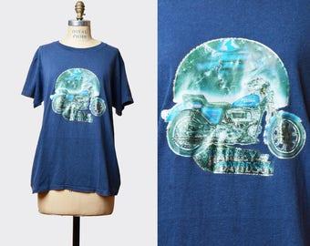 Vintage 70s HARLEY DAVIDSON Motorcycle TShirt / 1970s Glitter Iron On Print T Shirt Shirt Blue Green  m l