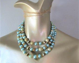 Vintage 1960's Beaded Necklace / Woman's Aqua Green Rhinestone Costume Jewelry Choker
