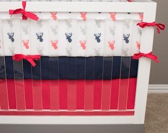 READY TO SHIP Watermelon Pink Deer Crib Bedding, Pink and Navy Bedding Baby Crib Set, Deer Woodland Baby Girl Forest Nursery, Pink Buck Crib