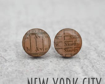 Laser Cut Vintage Map Circle Earrings, Choose your Location