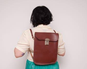 Vintage Brown Leather Backpack - Brown Leather Satchel - Vtg School Bag - Backpack with Straps - 1950s Satchel