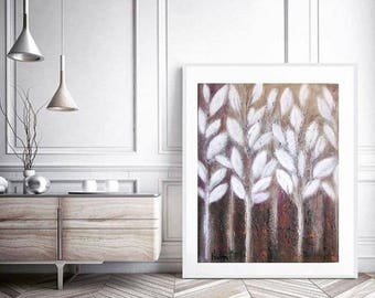 """Minimalist Botanical abstract White and Brown rustic oil canvas painting winter is coming theme of winter-white home-decor  wall art 22""""x28"""""""