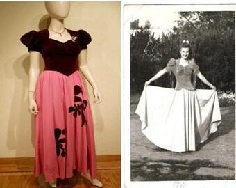 Velvety Holiday Dreams - Vintage WW2 1941 Burgundy Velvet & Cerise Hot Pink Rayon Skirt Long Dress - 0/2