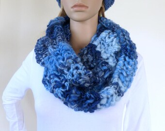 Blue Infinity scarf Cowl Chunky Scarf Womens Knit Accessory Circle Scarf