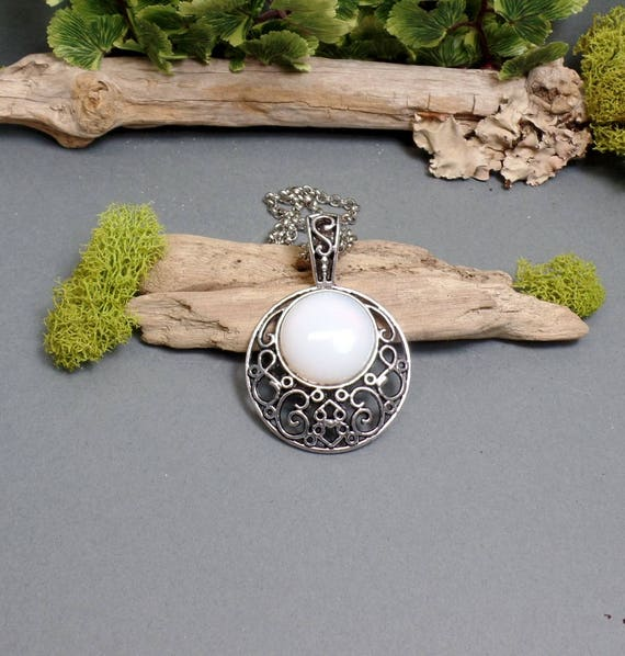 Opalite Moon Necklace - White Moon - Gemstone Necklace - Crescent Moon Necklace