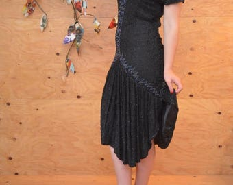 Vintage 80's Black Silk Beaded Sequin Drop Waist Dress With Large Ruffled Skirt SZ Small