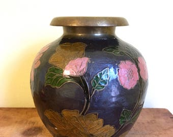 Vintage Enamel Painted Brass Vase, Oriental Decor, Large Bulbous Flower Vase, Black Pink Floral, Cloisonné
