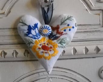 Lavender Heart Sachet Vintage Linen Home Fragrance Aroma Therapy