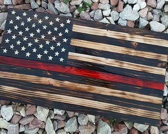 Burned Thin Red Line Firefighters Wood American Flag