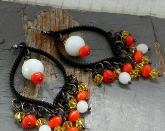 Atomic Tangerine - beautiful gypsy chandelier earrings, yellow crystal, tribal orange & vintage German glass beads