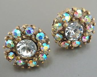 Aura Crystal Earrings - Rhinestone Earrings - Vintage Inspired Earrings - Antique Gold Earrings - Wedding Earrings