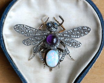 Antique Russian Imperial gemstone insect brooch ∙ 1900s Art Nouveau Russian fine insect jewelry queen flying ant